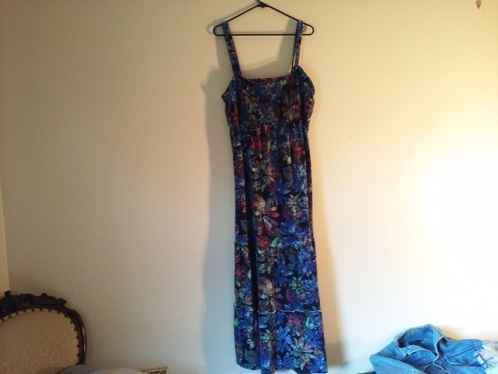 Great Condition Polyester Blend Style and Co. Women 1x Tropical Dress Blue Black