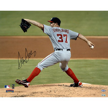 Stephen Strasburg Signed Horizontal Pitching with Grey Jersey 16 x 20 Photo - $295.95
