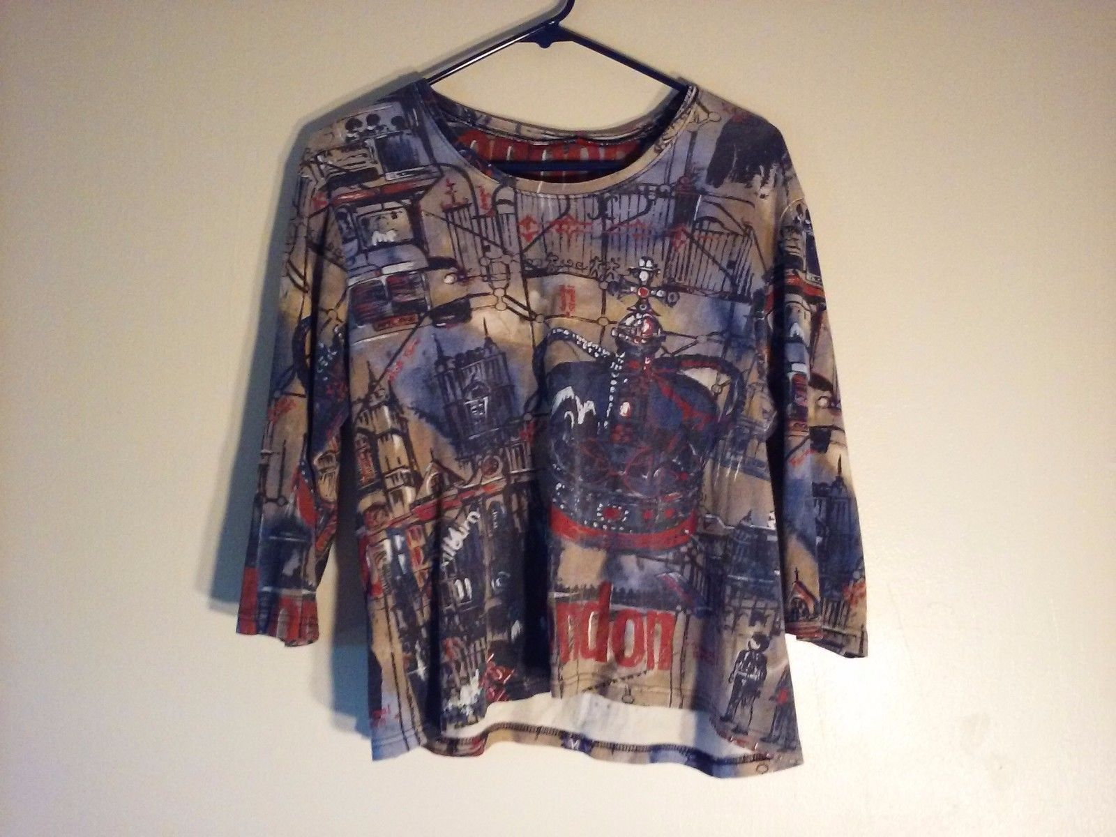 Great Condition Red Navy Brown White Map of London Shirt