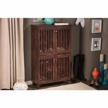 Entryway Shoes Storage Cabinet Modern Contemporary 4-Door Oak Brown Wooden - $195.99