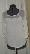 CABLE & GAUGE KNIT TOP SHIRT SIZE PM STRETCH WHITE LACE NWT - $16.99