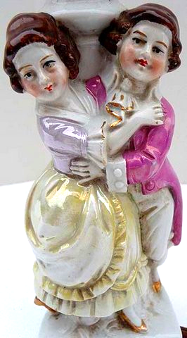 Antique 1895 Victorian Dancers Table Lamp LUSTER WARE Porcelain Made in Germany  - $85.99