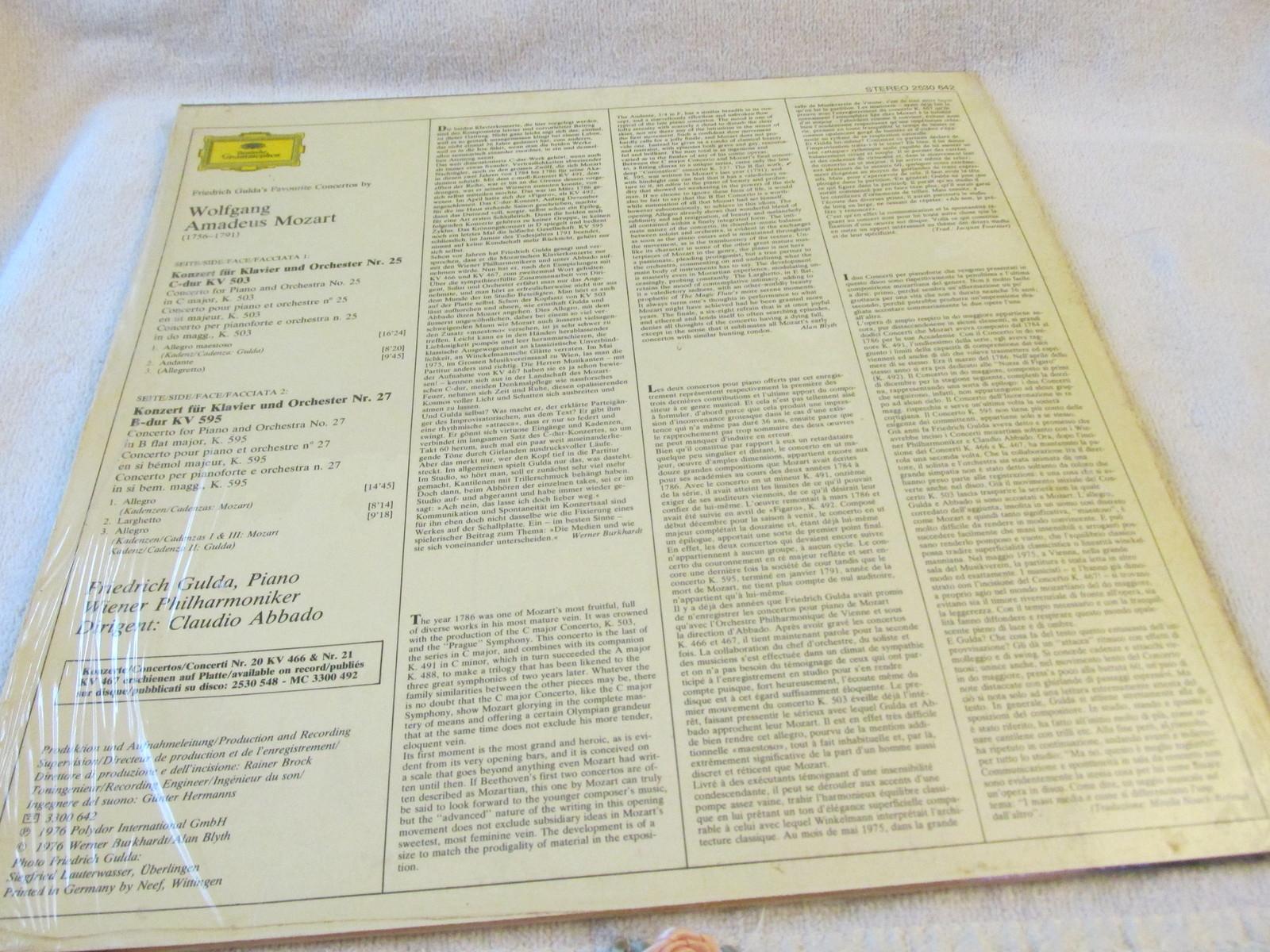 Mozart Klavierkonzerte Piano Concertos Nr. 25&27 Record Album