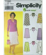 Pattern 7090 Women's Skirts, Several Styles sz 4-10 and Drawstring Bag  - $5.00