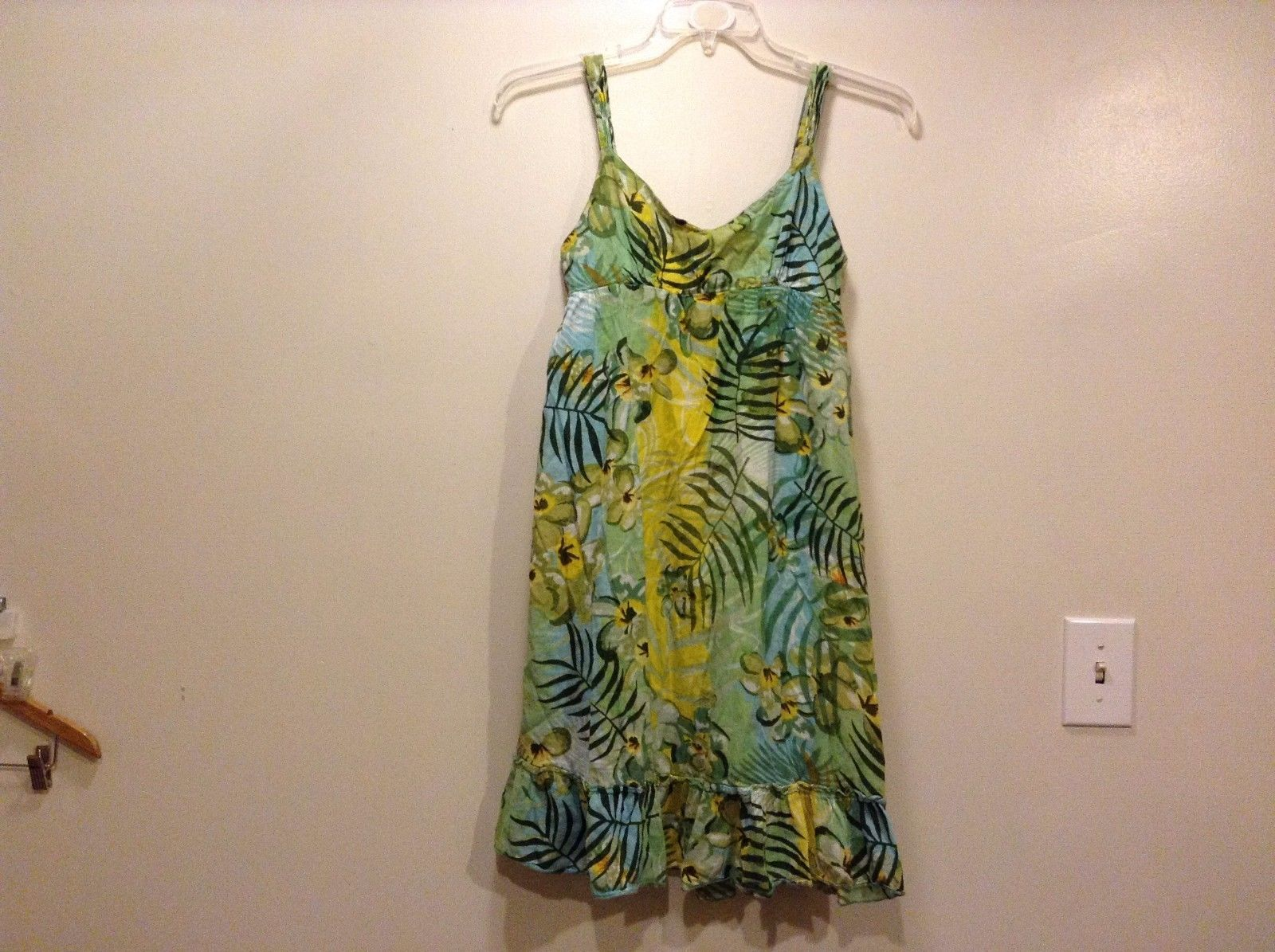 Great Condition Raviya Small 100% Cotton Yellow Blue Green Floral Dress