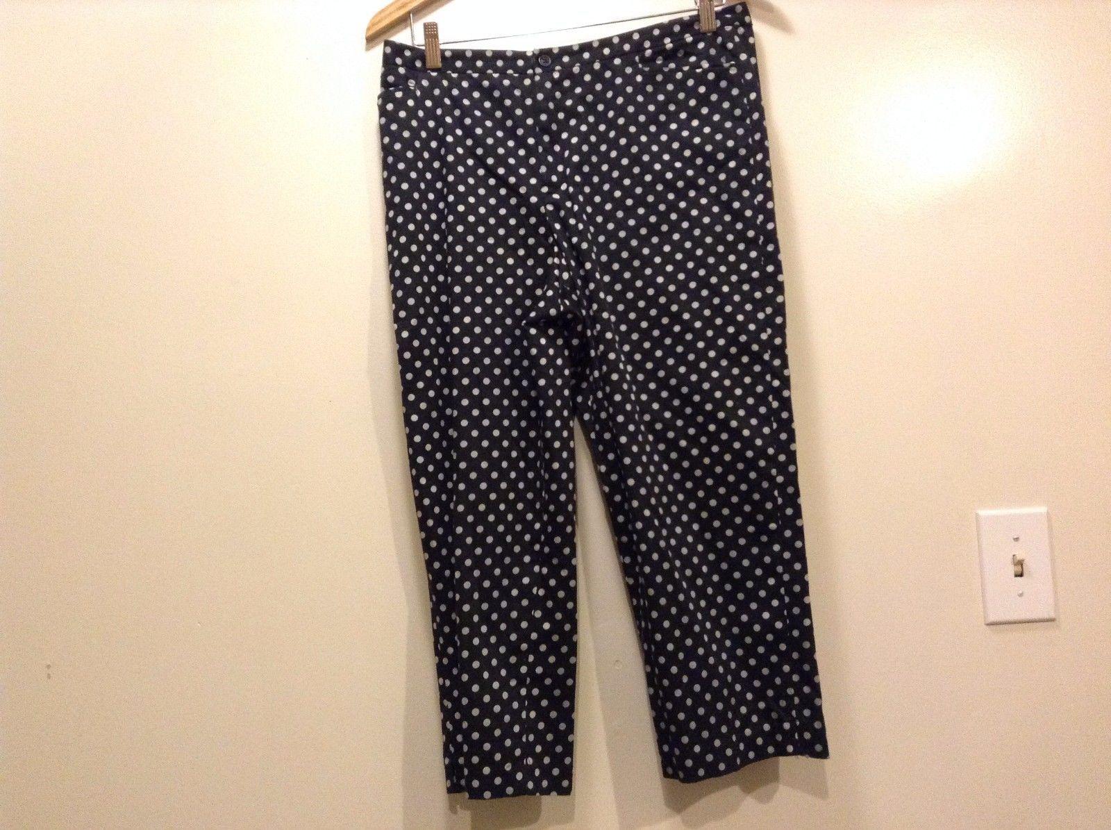 Great Condition Bay Studio Petite Cotton Size 12 Black White Polka Dot Pants