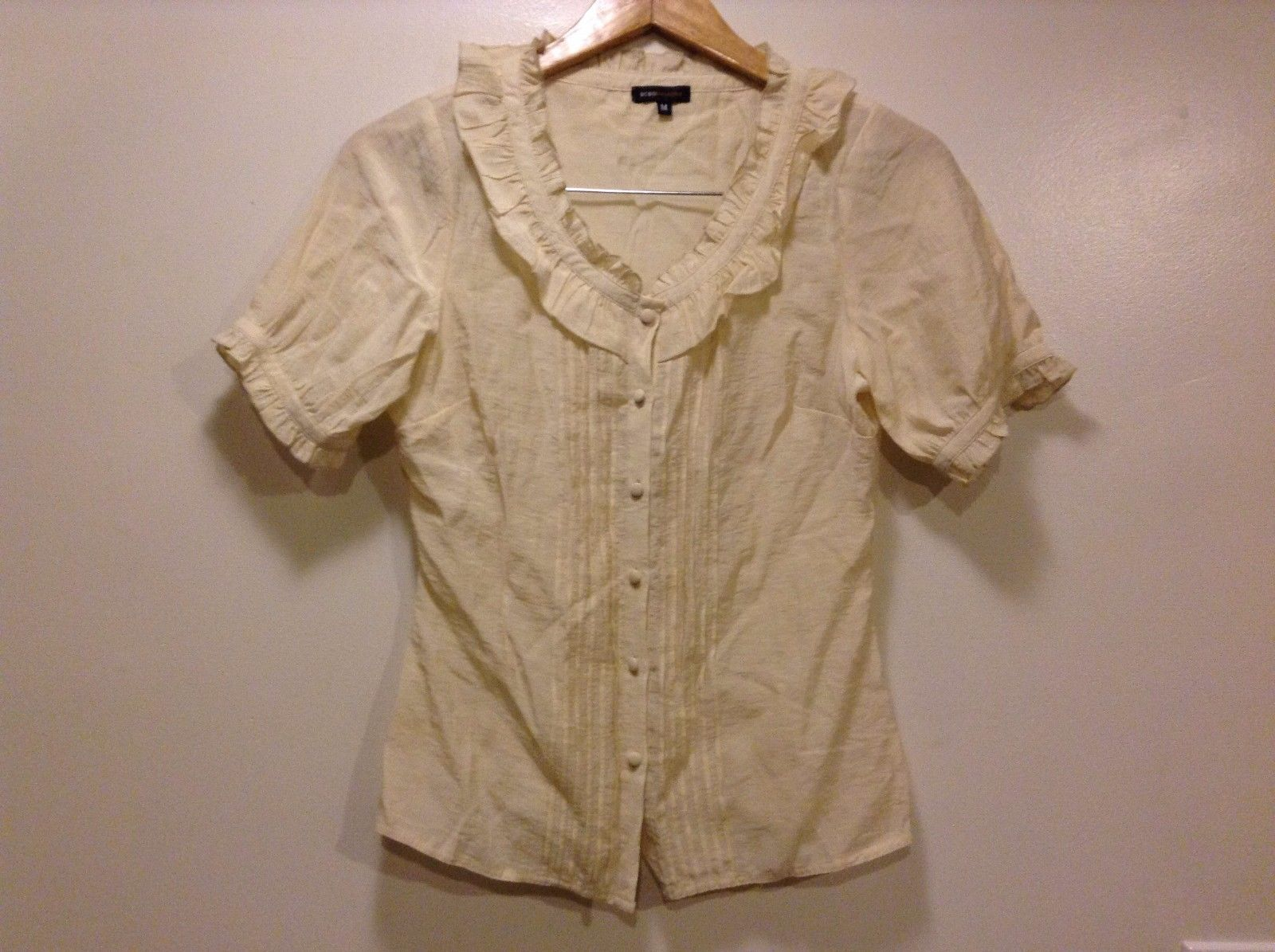 Great Condition BCBG Max Azria Medium Beige Rayon Blend Shirt Ruffled