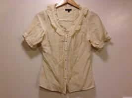 Great Condition BCBG Max Azria Medium Beige Rayon Blend Shirt Ruffled