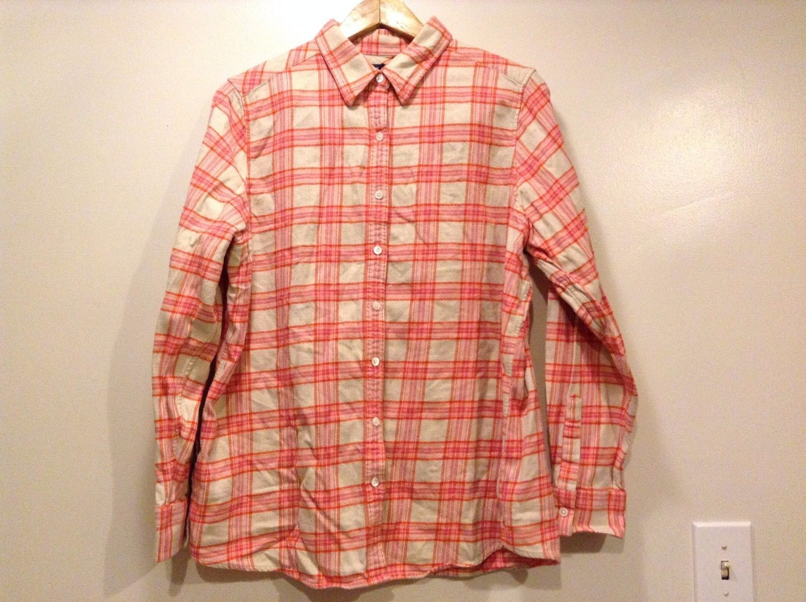 Great Condition Land's End Size 1x 100% Cotton Cream Pink Plaid Button Up Shirt