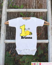 First Birthday Bee Onepiece - Personalized Bodysuit For Girl or Boy 1st Birthday - $18.00