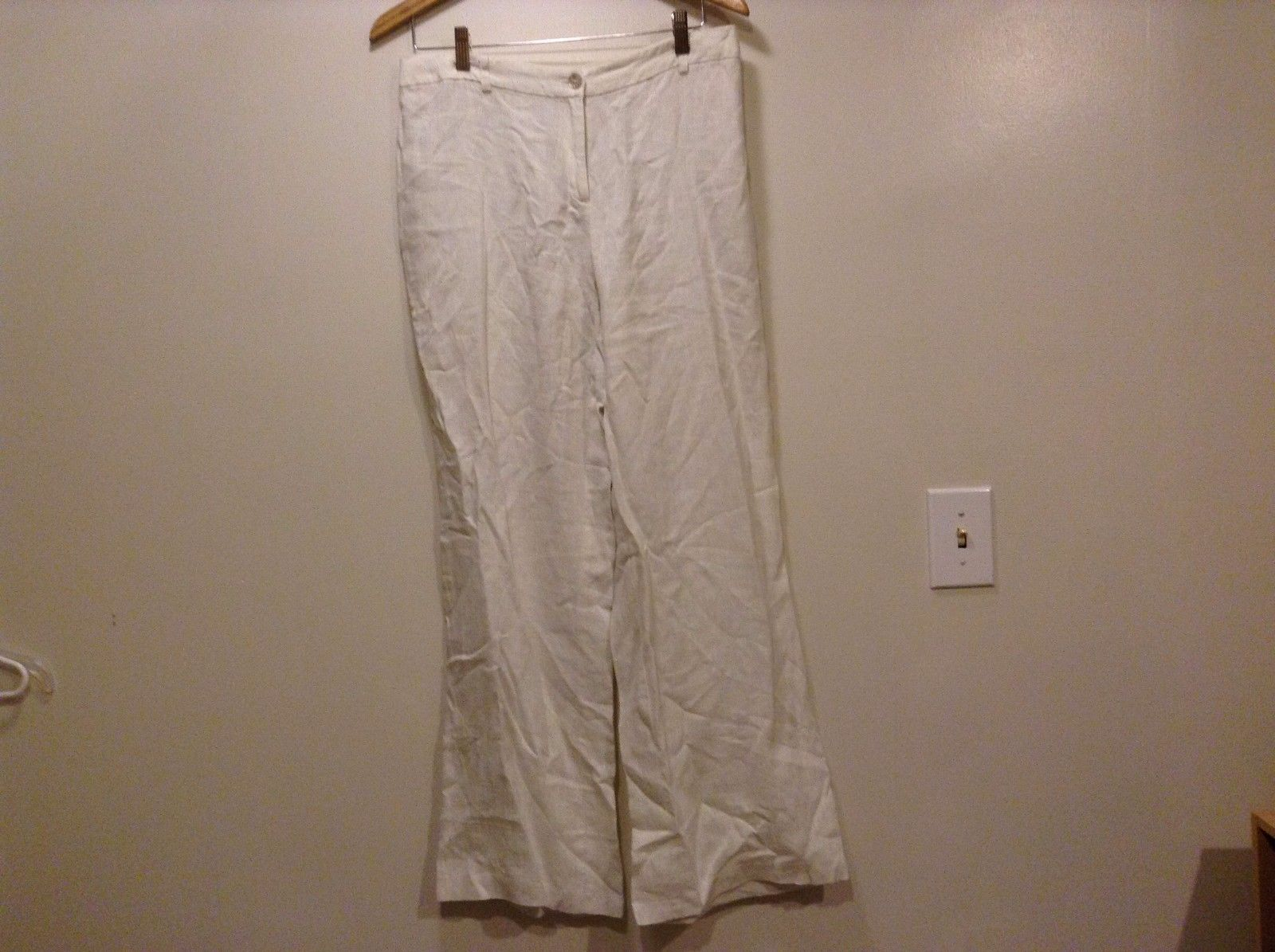 Great Condition Raxeusky 100% Linen Button Zipper White Sparkled Pants