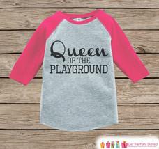 Girls School Outfit - Queen of the Playground Tshirt - Pink Raglan - Humorous Ki - $21.00
