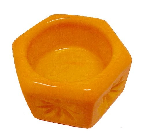 86515a hexagon yellow orange slag glass open salt dip cellar candy corn