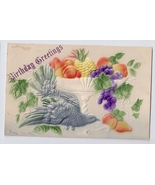 Birthday Greetings Airbrushed Dove Fruit Bowl Embossed Vintage Postcard - $4.99