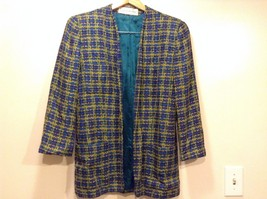 Great Condition Evan Picone Size 8 Buttonless Green Yellow Purple Blazer - $84.14