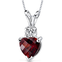 14K White Gold Garnet Heart Necklace - 1.31 Carats - $189.99