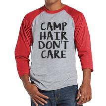 Camping Shirt - Camp Hair Don't Care Shirt - Men's Red Raglan T-shirt - ... - $21.00