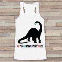 Dinosaur Shirt - Hungry Dinosaur, Donuts, Omnomnomivore - Womens White T... - $19.00