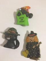 Vintage Halloween Pins 3 Russ Hallmark Witch Cat - $14.49