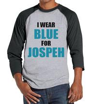 Men's I Wear Blue Shirt - Custom Cancer Awareness Shirt - Grey Raglan Sh... - $21.00