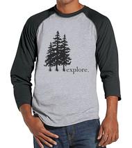 Mens Hiking Shirt - Explore Shirt - Men's Grey Raglan T-shirt - Camping,... - $21.00