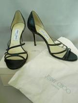 Jimmy Choo Heels Straits D'Orsay Pump Black Glitter Elaphe Snake Sandals... - $167.31