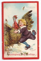 Brundage Thanksgiving Pilgrim Boy Catches Turkey Vintage Embossed Postc... - $4.99