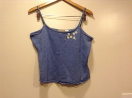 Great Condition Liz Claiborne Linen Cotton Blend Large Petite Blue Crop Top