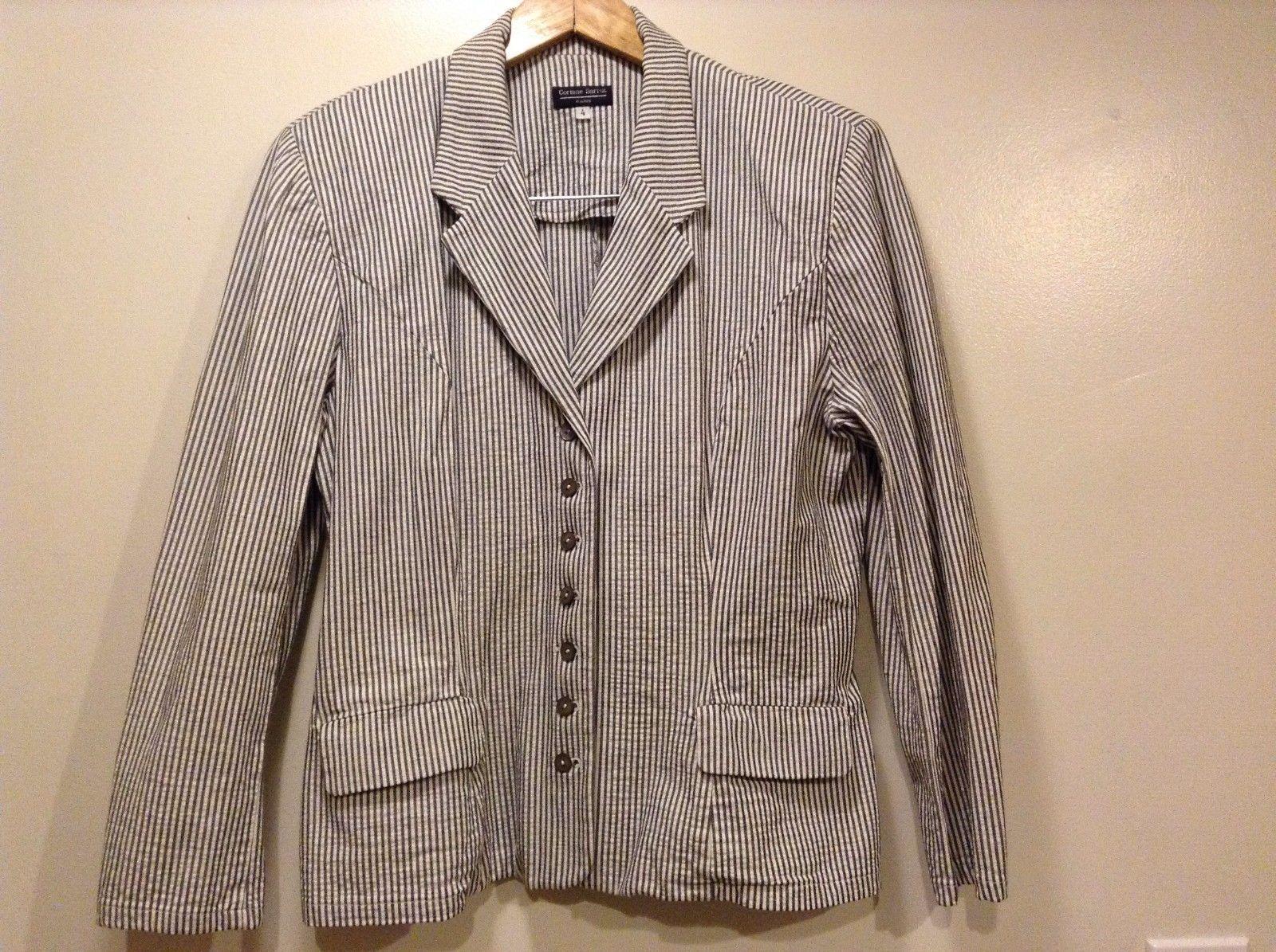 Great Condition Corinne Sarrut Size 4 White Gray Vertical Strip Blazer Button Up