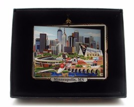 Minneapolis Minnesota Brass Ornament City Skyline Sports Stadiums Black ... - $18.95