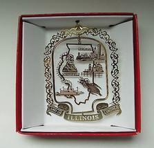 Illinois Brass Ornament State Landmarks Travel Souvenir Gift - $13.95