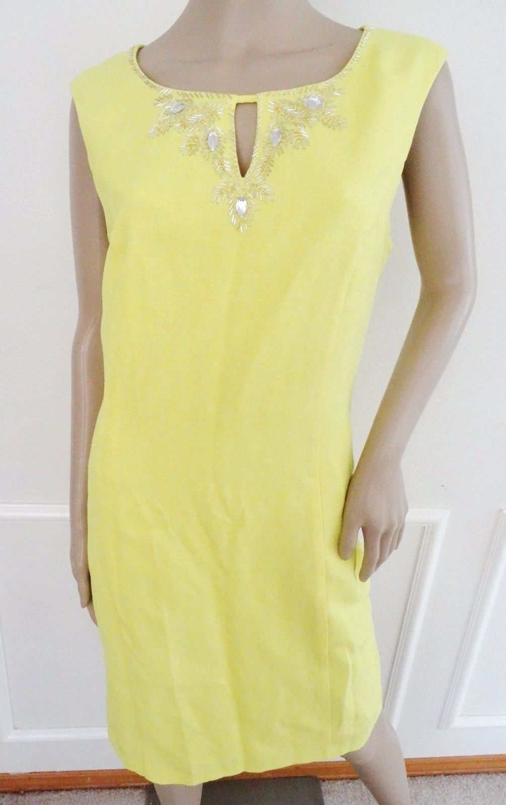 Nwt Ellen Tracy Beaded  Woven Sheath Cocktail Party Dress Sz 10 Yellow $118