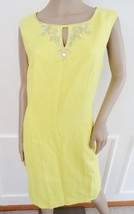 Nwt Ellen Tracy Beaded  Woven Sheath Cocktail Party Dress Sz 10 Yellow ... - $59.35