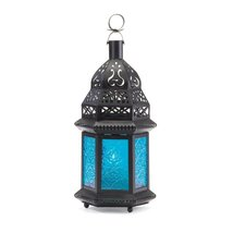 Western Outpost - BLUE GLASS MOROCCAN LANTERN - $10.84