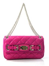 Michael Kors Hamilton Quilt Fuschia Small Shoulder Flap Leather - $99.95