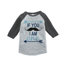 Custom Party Shop Boy's Mustache First Birthday Baseball Tee 5T Grey and Blue - $20.58
