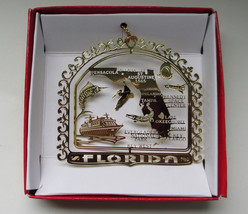 Florida Brass Ornament State Landmarks Travel Souvenir Gift - $13.95