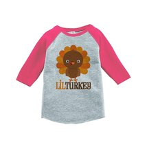 Custom Party Shop Baby Girl's Little Turkey Thanksgiving 5T Pink Raglan - $20.58