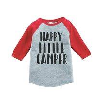 Custom Party Shop Unisex Happy Camper Outdoors Raglan Tee 5T Red - $20.58
