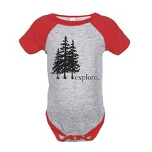 Custom Party Shop Unisex Explore Outdoors Raglan Onepiece 12 Months Red - ₹1,439.48 INR