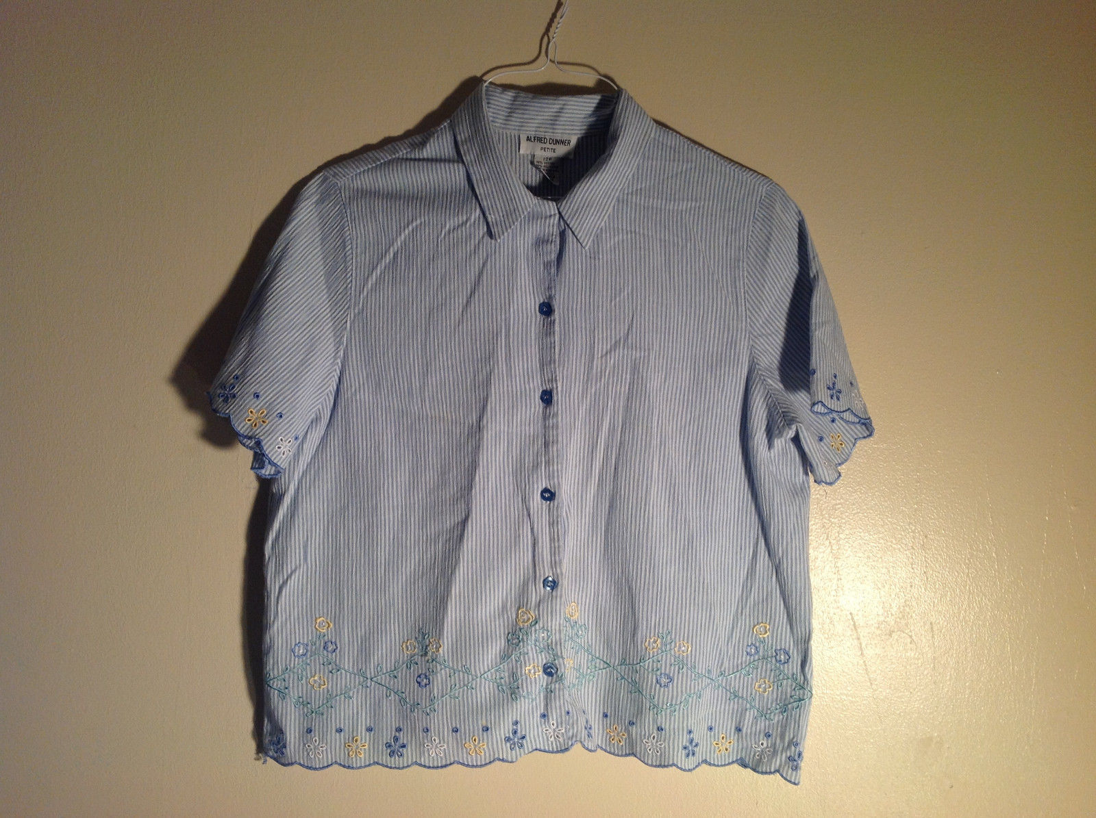 Alfred Dunner 12 petite lght blue/white short sleeve button-up
