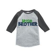 Custom Party Shop Boy's Novelty Little Brother Vintage Baseball Tee 4T Grey a... - $20.58