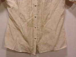 Great Condition BCBG Max Azria Medium Beige Rayon Blend Shirt Ruffled image 2
