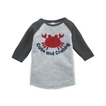 Custom Party Shop Cute and Crabby Summer Raglan Tee 5T Grey - $20.58