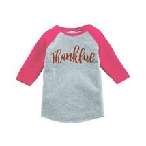Custom Party Shop Baby's Thankful Thanksgiving 5T Pink Raglan - $20.58