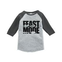 Custom Party Shop Baby's Feast Mode Thanksgiving 2T Grey Raglan - $20.58