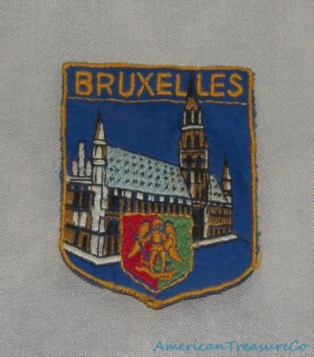 Vintage 60s Bruxelles Hotel De Ville Belgium Embroidered Souvenir Sew On Patch