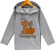 Custom Party Shop Baby's My 1st Thanksgiving Hoodie 12 Months Grey - $22.05
