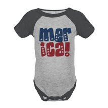 Custom Party Shop Merica 4th of July Raglan Onepiece 18 Months Grey - ₹1,439.48 INR