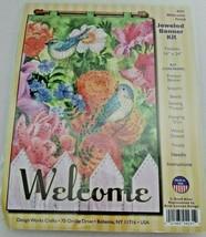 Welcome Floral Bird Garden Jeweled Banner Kit Design Works Crafts 4231 F... - $11.99